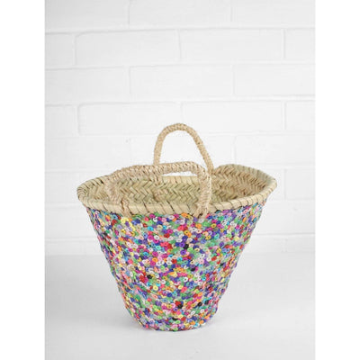 Rainbow Sequin Handwoven Basket | Jade and May -Basket- Jade and May