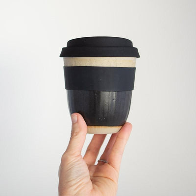 Reusable ceramic takeaway coffee cup - Black Carved | Kim Wallace Ceramics -Ceramics- Jade and May
