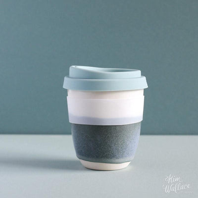 Reusable ceramic takeaway coffee cup - Bluegum | Kim Wallace Ceramics -Ceramics- Jade and May