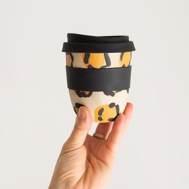 Reusable ceramic takeaway coffee cup - Leopard | Kim Wallace Ceramics -Ceramics- Jade and May