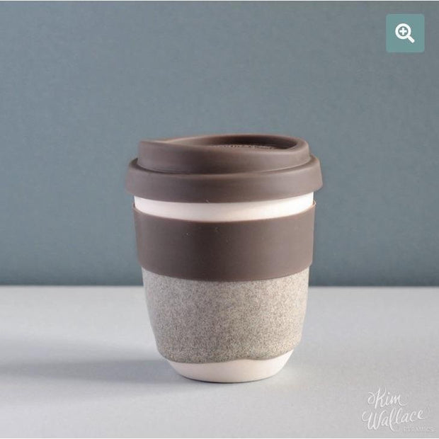 Reusable ceramic takeaway coffee cup - Riverstone | Kim Wallace Ceramics -Ceramics- Jade and May