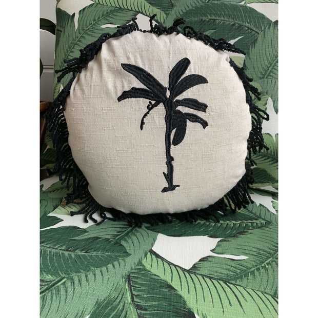 Round Fringed Embroidered Cushion in Banana Bungalow | Libby Watkins -Cushion- Jade and May