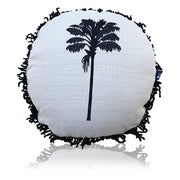 Round Fringed Embroidered Cushion in Coco Cabana | Libby Watkins -Cushion- Jade and May