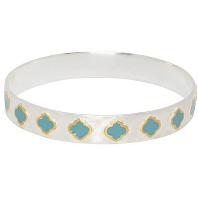Royal Hamam Jaali Collection - Sterling Silver Gold Turquoise Bangle - Jade and May