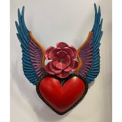 Tin Heart with Rose and Wings -For the wall- Jade and May