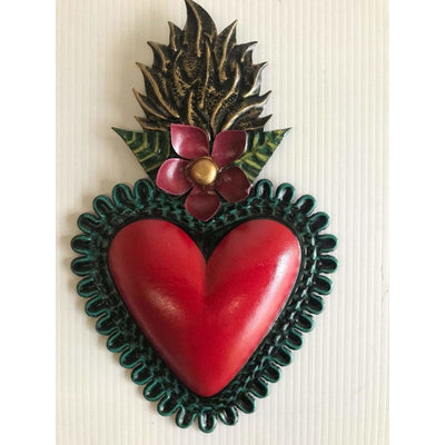 Tin Red Heart - Flames and Flowers -For the wall- Jade and May