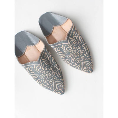 Traditional Leather Babouche Moroccan Slide on Pointed Slippers in Grey and Off White -Slippers- Jade and May