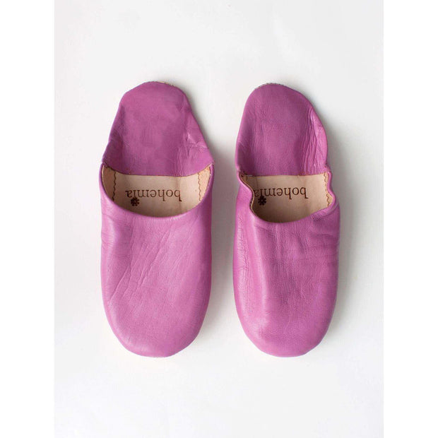 Traditional Moroccan Leather Babouche Slippers - Fuchsia -Slippers- Jade and May