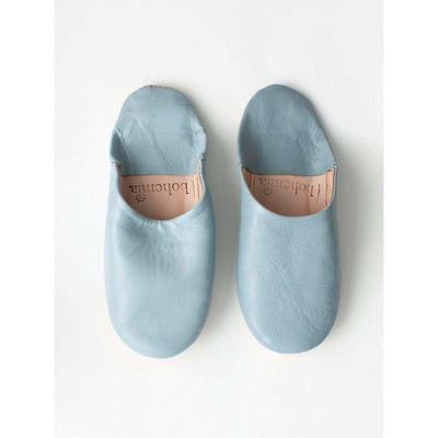Traditional Moroccan Leather Babouche Slippers in a classic Pearl Grey -Slippers- Jade and May