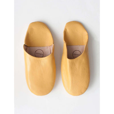 Traditional Moroccan Leather Babouche Slippers in a modern Mustard -Slippers- Jade and May