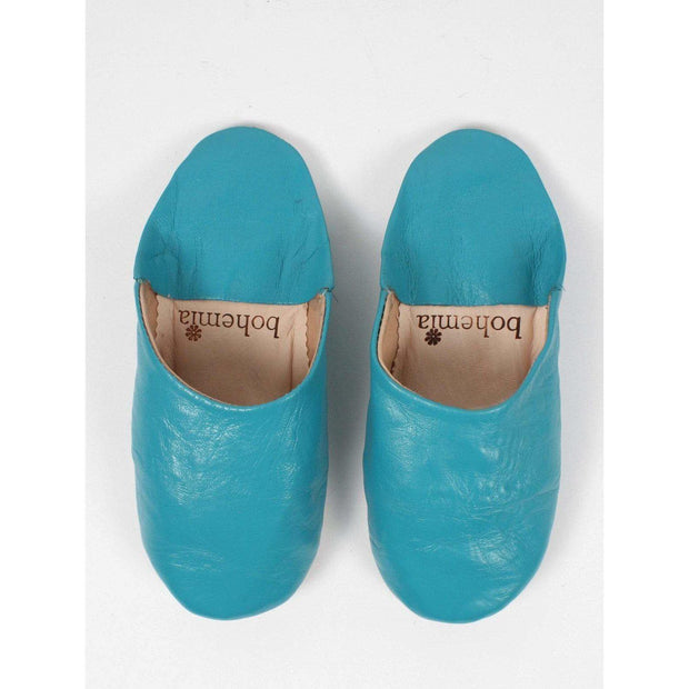 Traditional Moroccan Leather Babouche Slippers in a stunning Aqua -Slippers- Jade and May