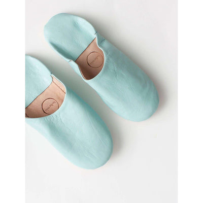 Traditional Moroccan Leather Babouche Slippers in Duck Egg Blue -Slippers- Jade and May