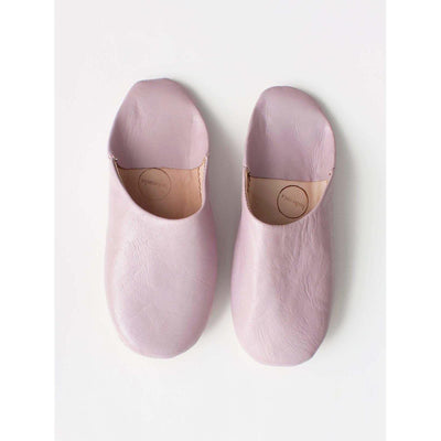 Traditional Moroccan Leather Babouche Slippers in Pink -Slippers- Jade and May