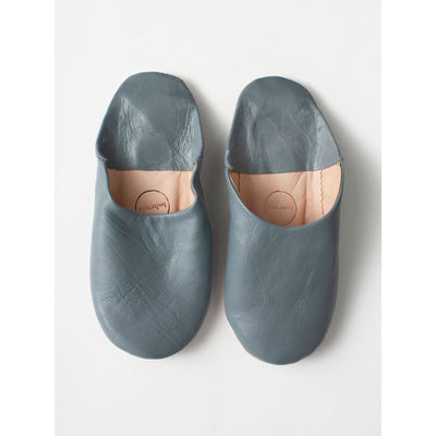 Traditional Moroccan Leather Babouche Slippers in Slate Grey -Slippers- Jade and May