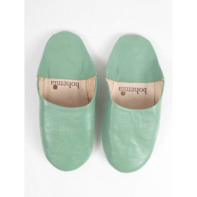 Traditional Moroccan Leather Babouche Slippers - Sage -Slippers- Jade and May