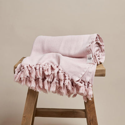 Turkish Cotton Throw Blanket in Dusty Pink | Saarde -Blankets and Throws- Jade and May