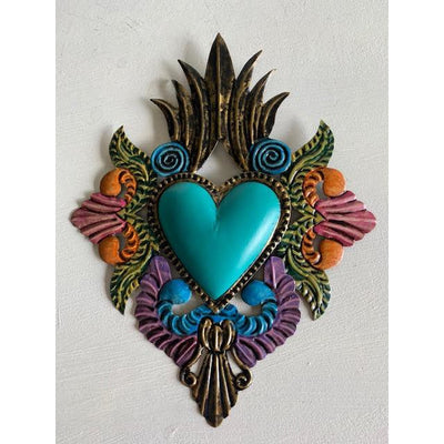 Turquoise Mexican Tin Heart | Mexican Folkart -For the wall- Jade and May
