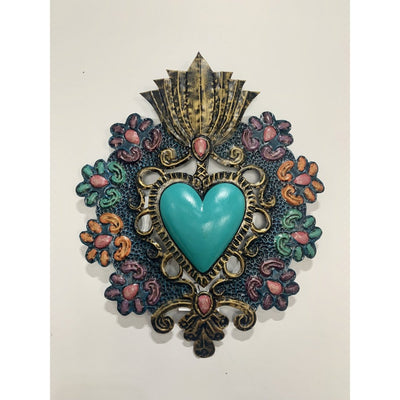 Turquoise Primavera Mexican Heart | Mexican Folkart -For the wall- Jade and May