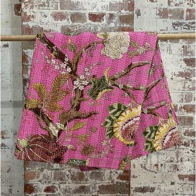 Very Pink Patterned Kantha Quilt -Blankets and Throws- Jade and May
