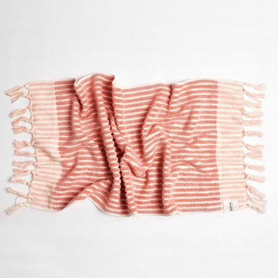 Wanderer Stripe Hand Towel in Pink | Saarde -Towels- Jade and May