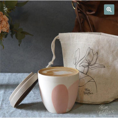 Waterproof linen pouch for takeaway coffee cups | Kim Wallace Ceramics -Ceramics- Jade and May