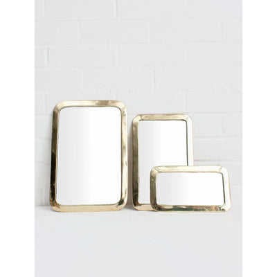 White Brass Moroccan Brass Rounded Rectangle Mirror | Jade and May -Mirror- Jade and May