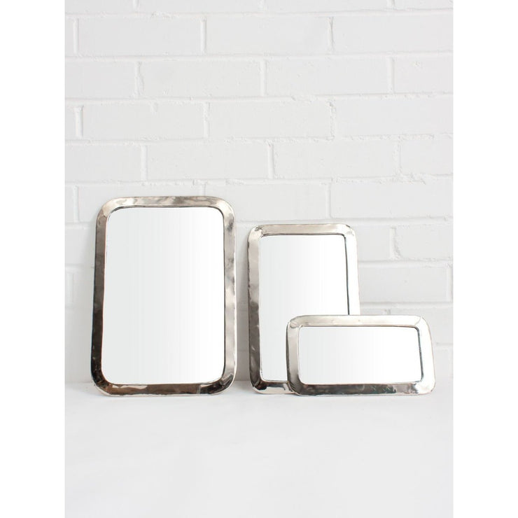White Brass Moroccan Rounded Rectangle Mirror | Jade and May -Mirror- Jade and May
