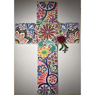White Ceramic Hand Painted Cross with Tassles - Large 28cm | Mexican Handicrafts -Home Accessories- Jade and May