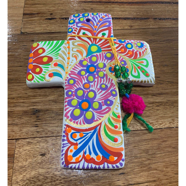 White Ceramic Hand Painted Cross with Tassles - Small 18cm | Mexican Handicrafts -Home Accessories- Jade and May