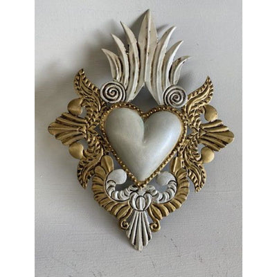 White heart Mexican Tin Heart | Mexican Folkart -For the wall- Jade and May