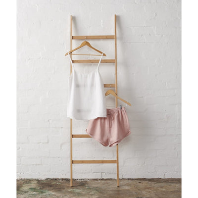 White Linen Cami and Dusky Rose Shorts Set | Jade and May -Pajamas- Jade and May