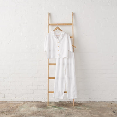 White Linen Cropped Button Up Pant PJ set - Extra Length | Jade and May -Pajamas- Jade and May