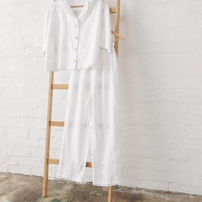 White Linen Cropped Button Up PJ Top and Classic PJ Pant set | Jade and May -Pajamas- Jade and May