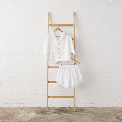 White Linen Cropped Button Up PJ Top and Short set | Jade and May -Pajamas- Jade and May