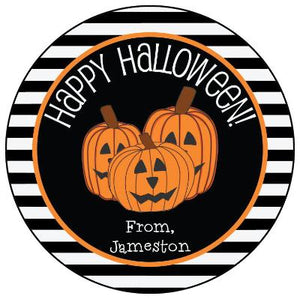 Halloween Pumpkins & Stripes Gift Sticker