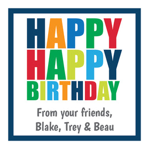Happy Birthday (Primary Bold) Gift Stickers