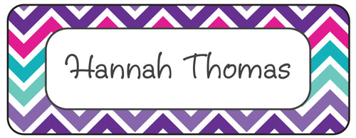 Purple Pink Chevron Waterproof Labels