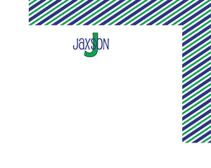 Blue/Green Initial Flat Notecards