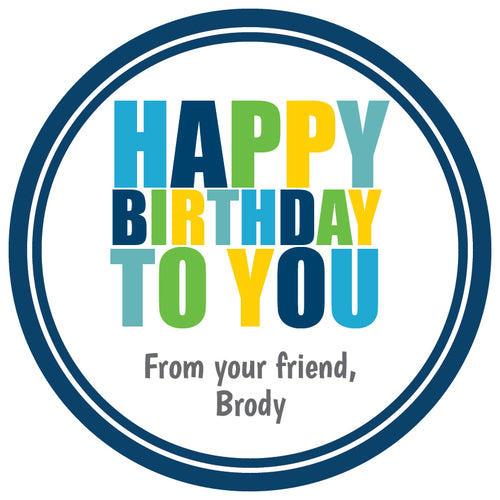 Happy Birthday (Blue) Gift Stickers