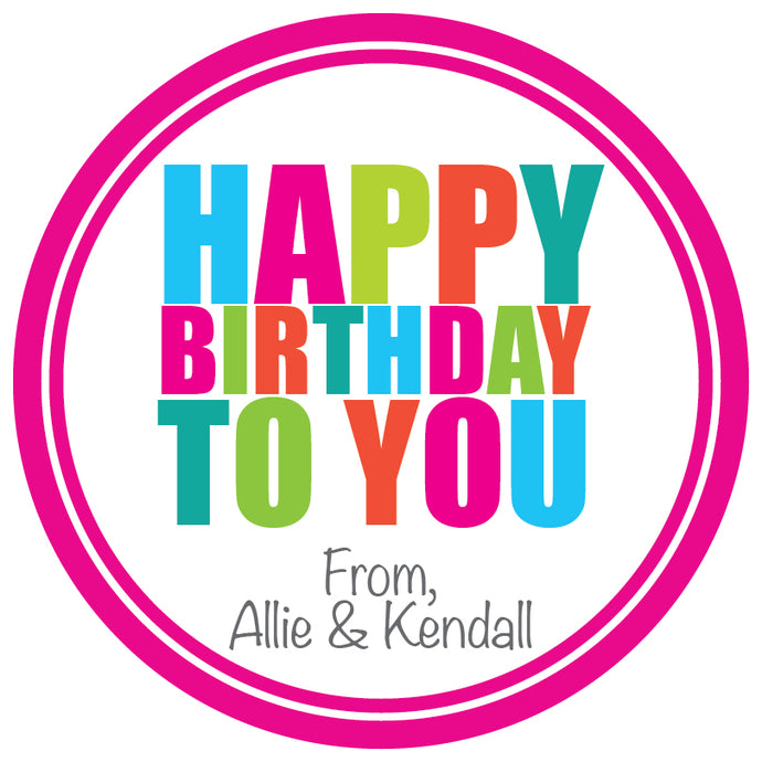 Happy Birthday (Pink) Gift Stickers