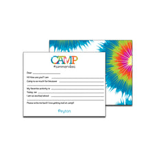 Load image into Gallery viewer, Tie Dye Bright Fill-In Blank Camp Notecards