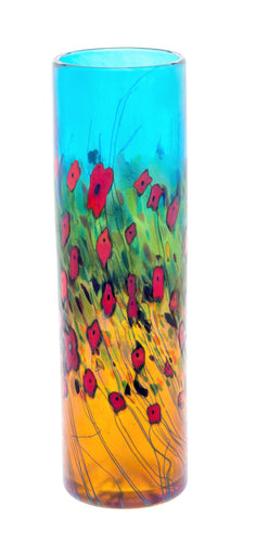 California Poppy, Medium Cylinder Vase