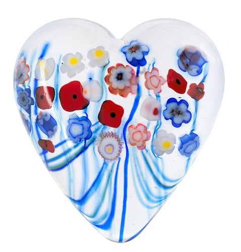 Flower Bouquet Heart Paperweight Small