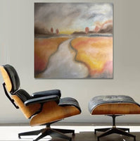 2018 Mid Century Style Abstract Landscape Oil Painting