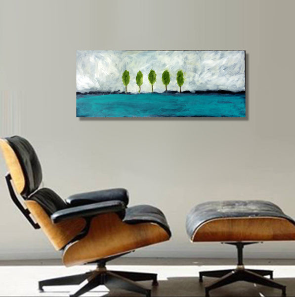 Earth Blue Landscape Modern Abstract 38x15