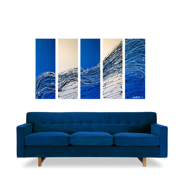 blue ocean success 5 panel sky water beach blue colors art modern abstract paintings original art online gallery rodmodern black and white color new york los angeles miami saatchiart saatchi vango art wall art colorful for salecheap art
