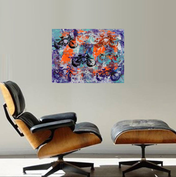 oil painting art bike bicycle modern abstract paintings original art gallery online sale artist ugallery saatchi vango art ethan applebee eames herman miller mid century mid-century gallery wrap canvas art for sale canvas artfire art depop