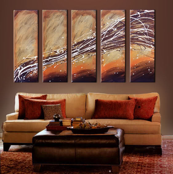 5 Chocolate White Sunset Paintings Custom Order