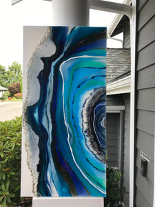 Blue Jean Geode, resin and acrylic on canvas **SOLD**