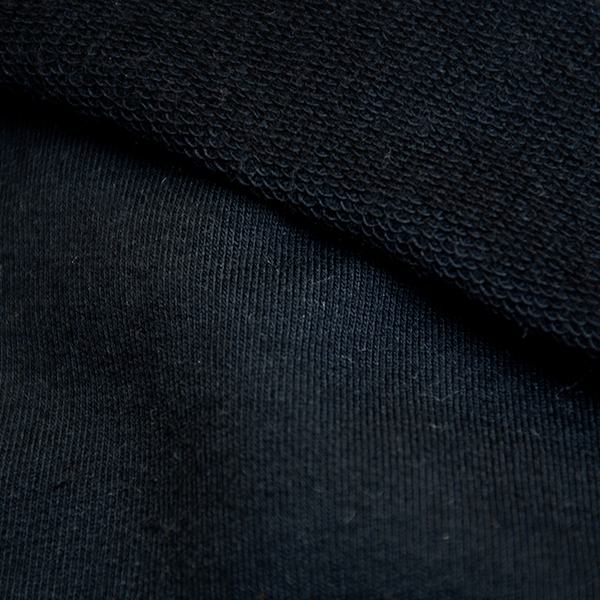 French terry thin loop organic cotton black 12.5-13 oz
